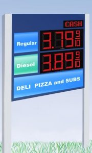 The Cash/Credit display in the upper, right-hand corner works with  Fuelight digit displays.