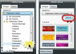 Click on Daktronics library > Community > Search