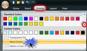 Format tab and select more colors.