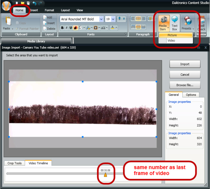 Video Import frame
