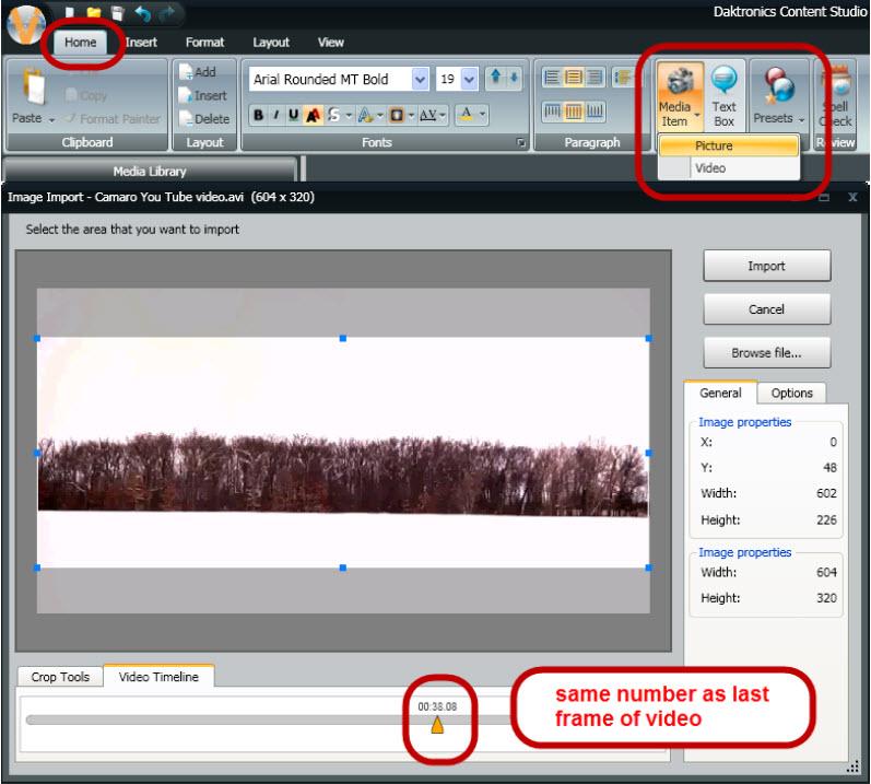 Video Import frame