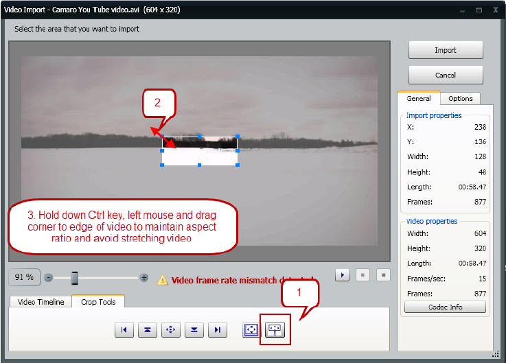 Video Import steps
