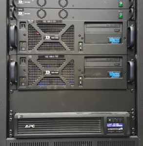 The UPS sits in the bottom of the rack and protects the above equipment.