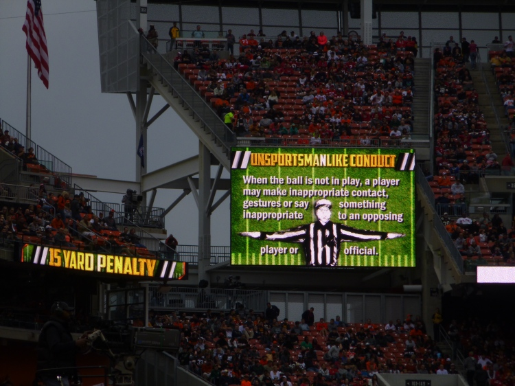 Browns fans stay informed with penalty descriptions on ancillary displays each time a flag is thrown.