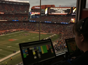 Browns Show Control operators use their separate workspaces during Sunday's matchup against Pittsburgh.