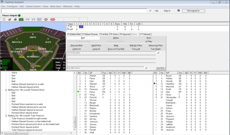 The play-by-play user interface for DakStats Baseball.
