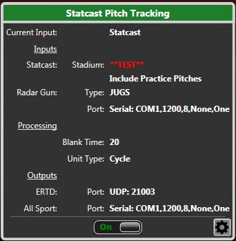 Statcast Pitch Tracking test mode