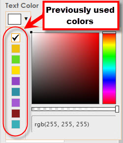 previously used colors