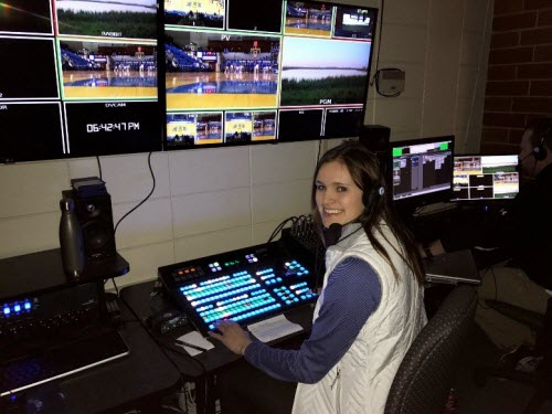 Pictured: Paige directing for an SDSU basketball game