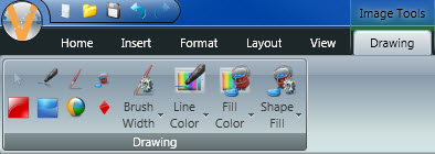 Drawing Tab appears