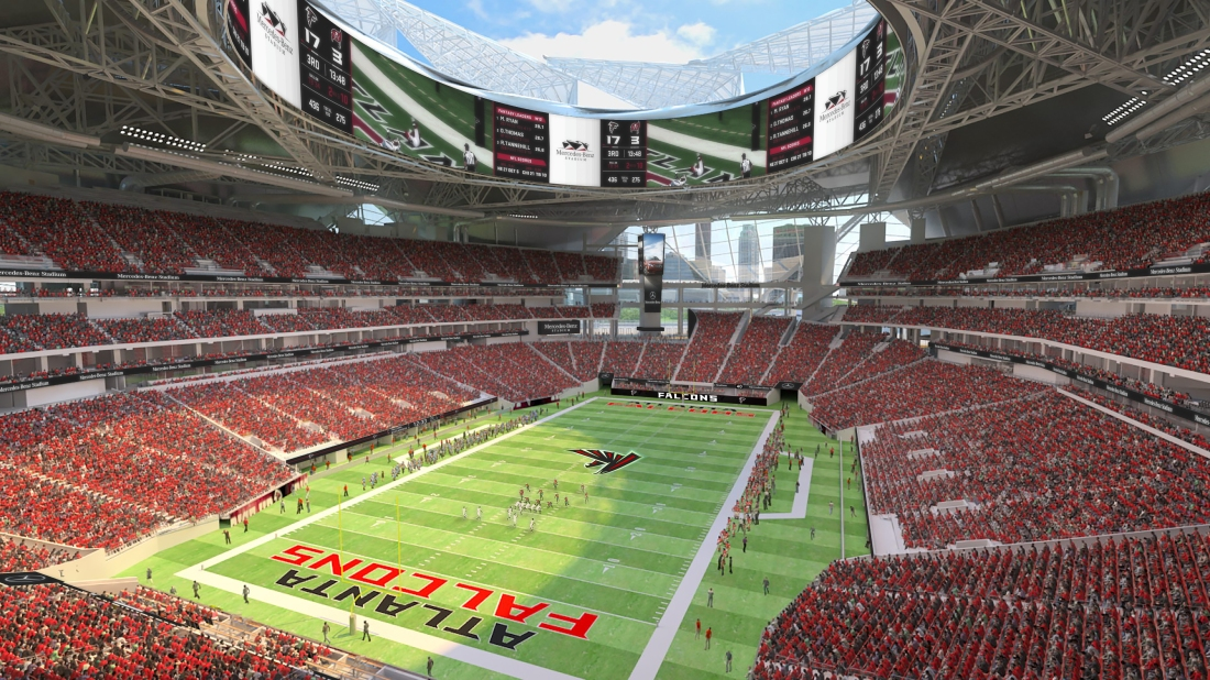 A look inside of the newly completed Mercedes-Benz Stadium. The venue will  host its first event on Aug. 26 when the Falcons face the Arizona Cardinals  in ...