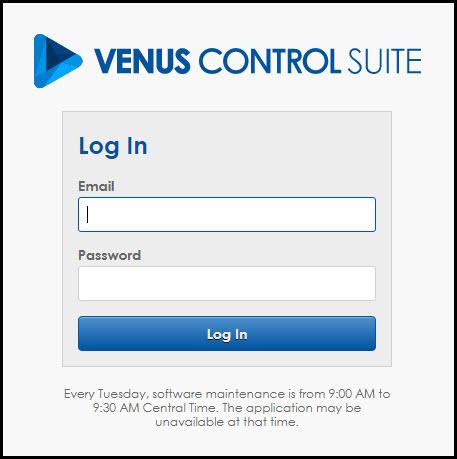 Log into Venus Control Suite