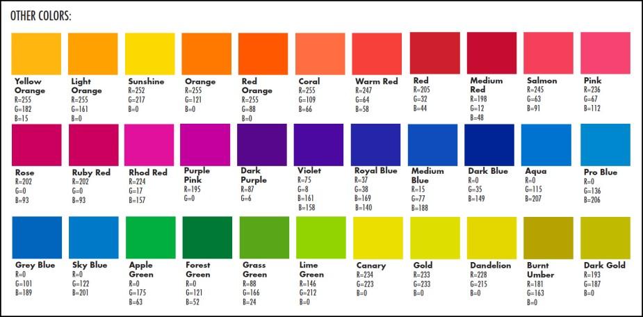 Standard colors 3