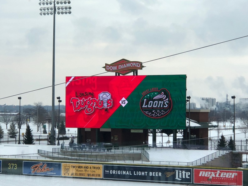 In Right Field, the new Main Video display measures 1876 pixels wide by 728 pixels tall with 13mm spacing. Photo courtesy: Great Lakes Loons