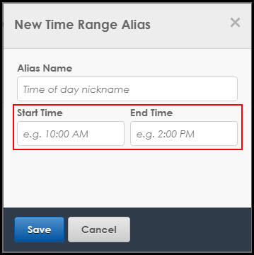 Alias Start and End Time