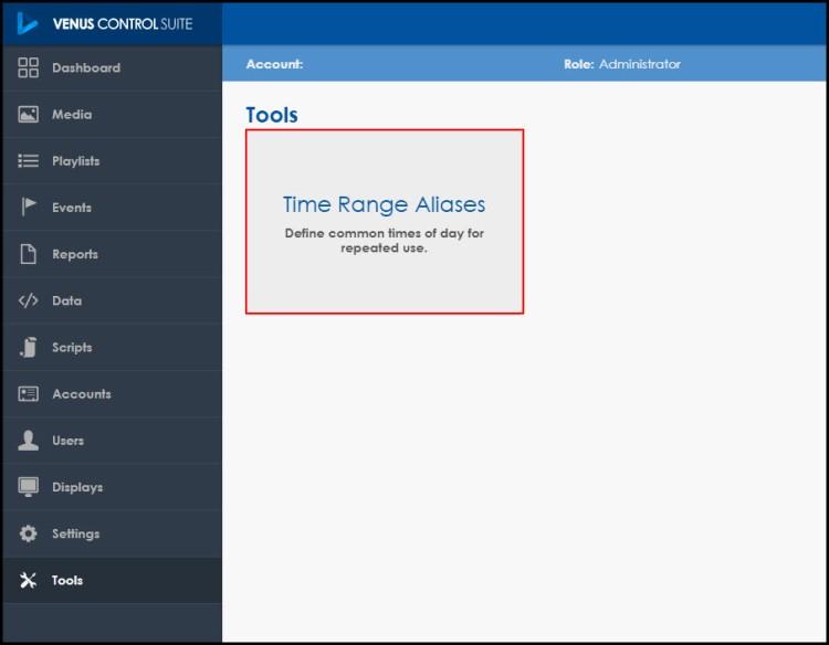 Click on Time Range Aliases